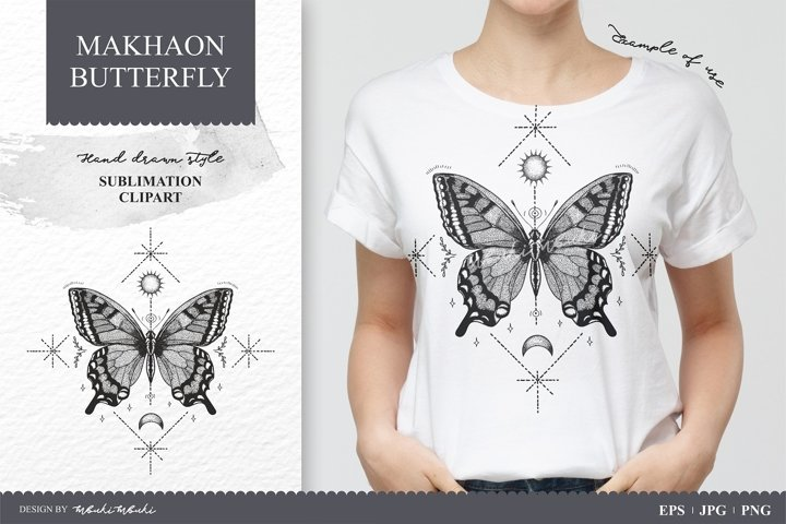 Hand drawn butterfly high quality sublimation clipart