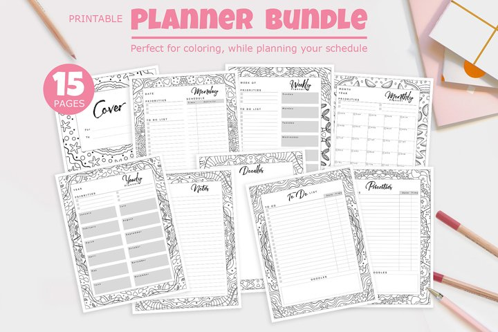 Printable Planner Bundle with Frames for Coloring