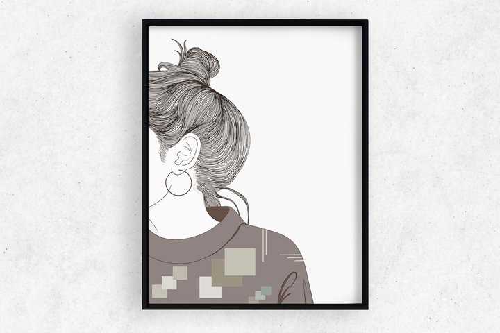 Art Print   Woman facing the wall,Instant Download
