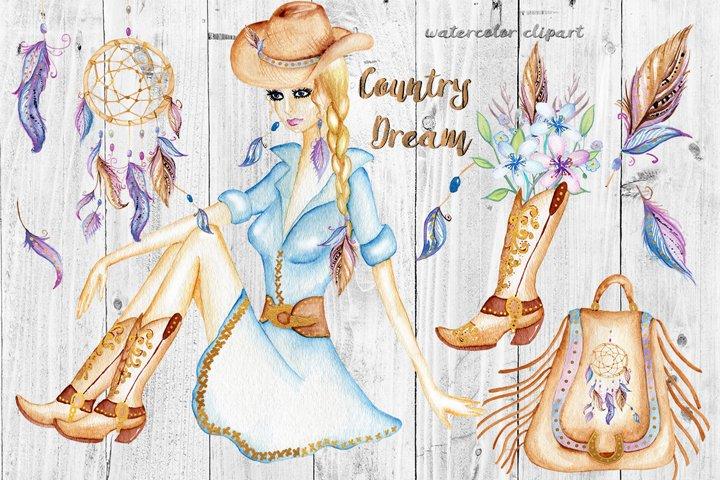 Watercolor Western Clipart, Dream Catcher, Boho Clipart Girl