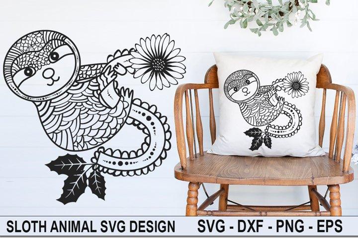 Sloth Zentangle SVG | Sloth Mandala |Animal Mandala SVG