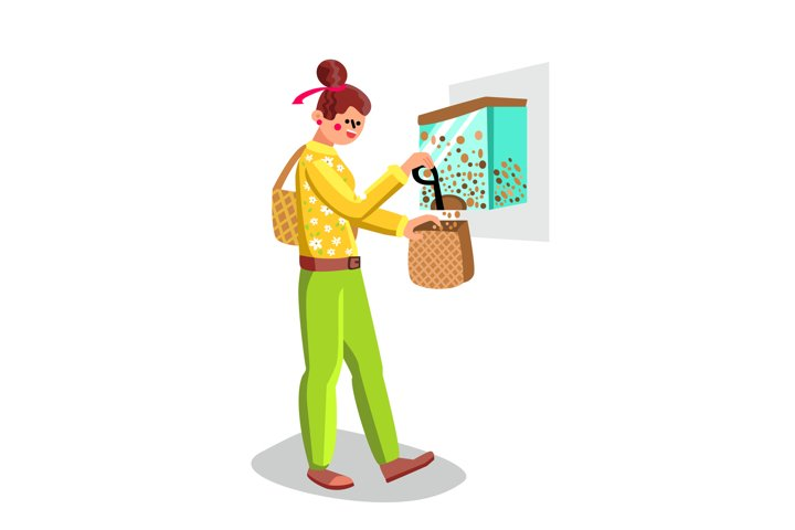 Woman Filling Flakes In Zero Waste Bag Vector