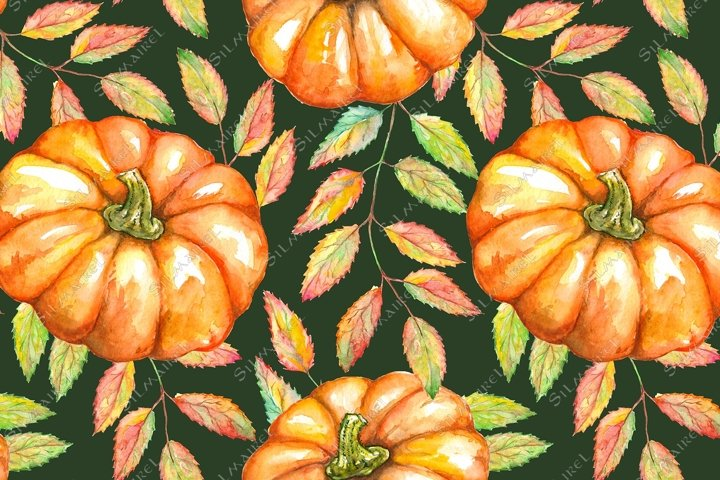 Watercolor pumpkin rowan ash berry leaf seamless pattern