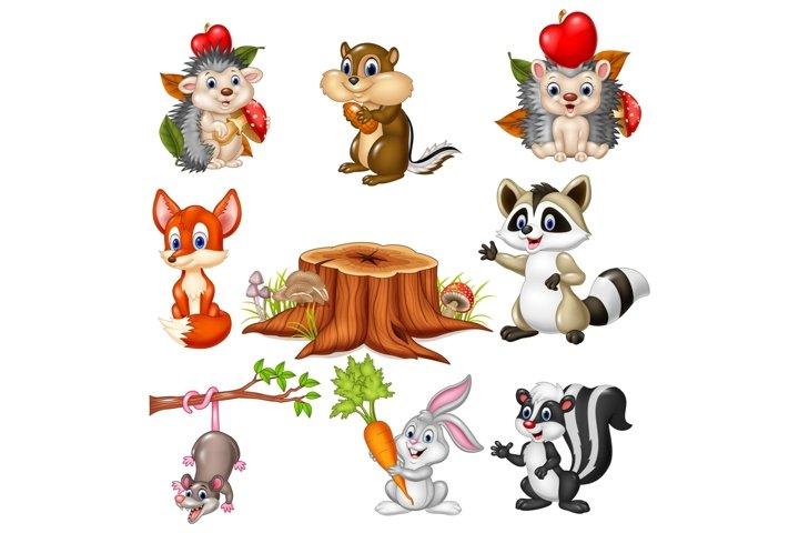 Cartoon Wild Animals Vector Set