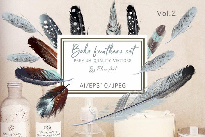 Bohemian mood vector feathers set