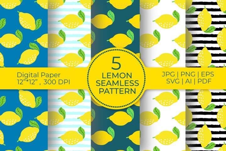 Lemon Digital Paper BUNDLE, lemon seamless pattern bundle