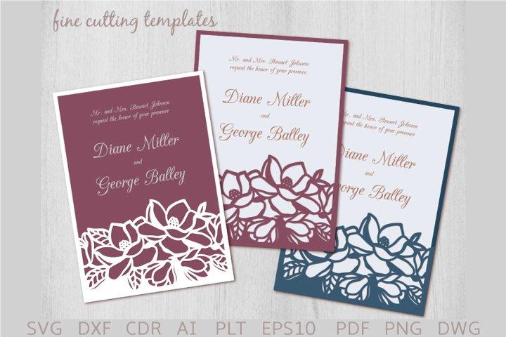 Magnolia Wedding Invitation SVG 5x7 pocket envelope template