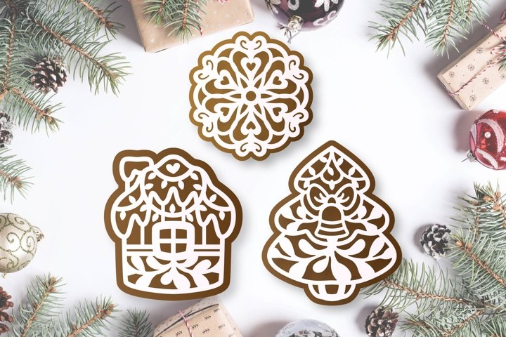 Christmas gingerbread set of Cricut SVG file, Gift tag svg example 1