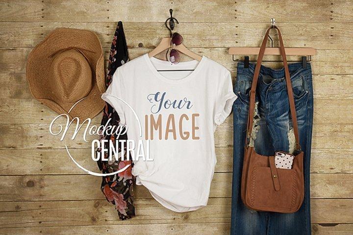 Womens Blank White Country Rustic T-Shirt Shirt JPG Mock Up