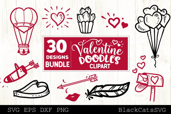 Valentine Doodles SVG bundle love clipart SVG 30 designs example