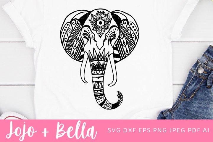 Zentangle Elephant Svg | Mandala SVG| Elephant SVG