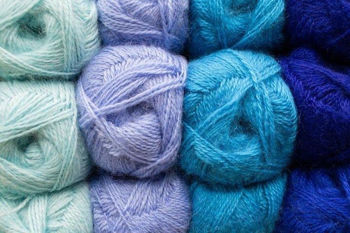 Skeins of thread in blue