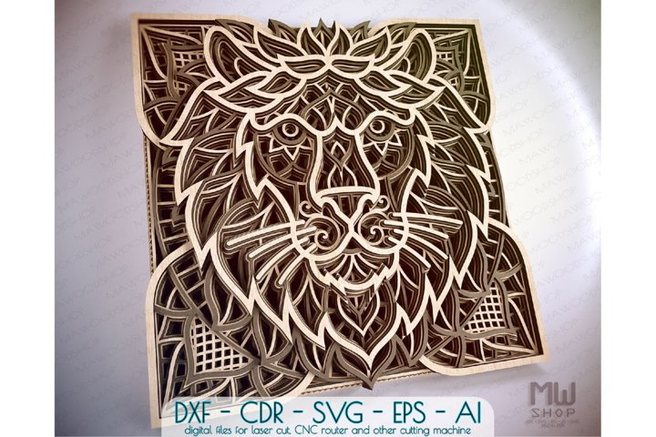 A02 - Layered Lion DXF Laser Cut, Layered Lion SVG