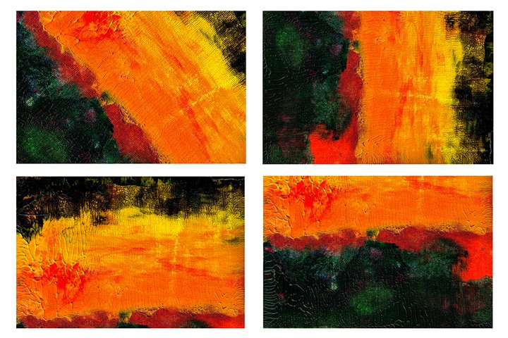 Set of 4 images. Abstract art background. Acrylic painting