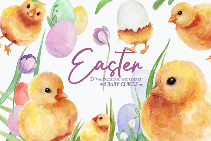 Watercolor Easter clipart, spring floral clipart, baby chick