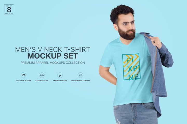 T-Shirt Mockup - Mens V-Neck T-Shirt Mockup Set