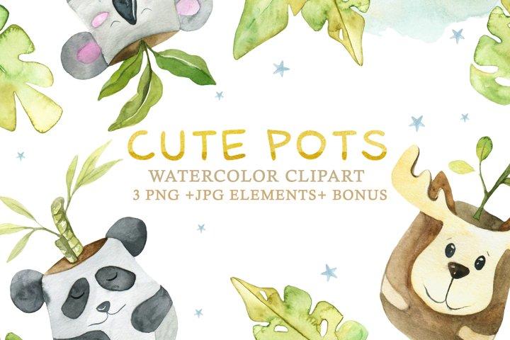 Cute Pots Watercolor Set