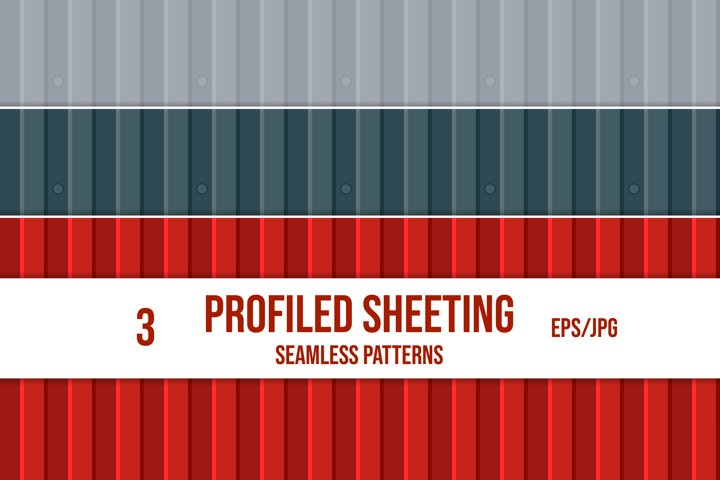 Set of profiled sheeting seamless patterns. Wavy slate.
