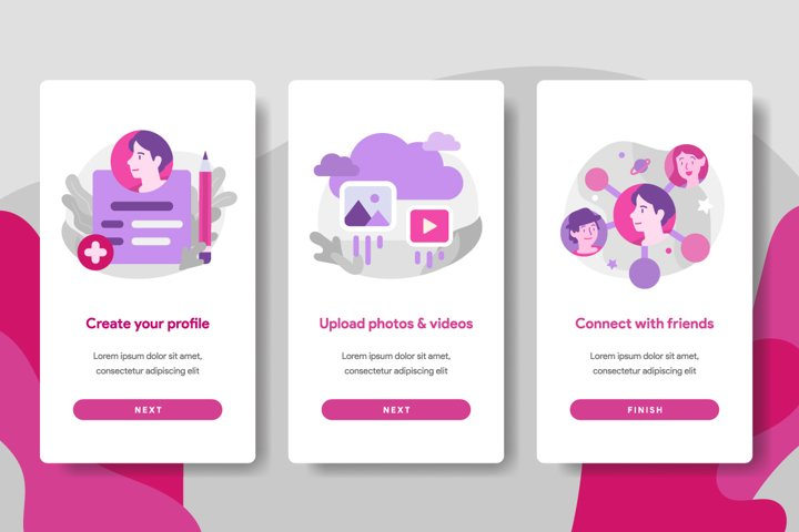 Onboarding screen page template of Social Media
