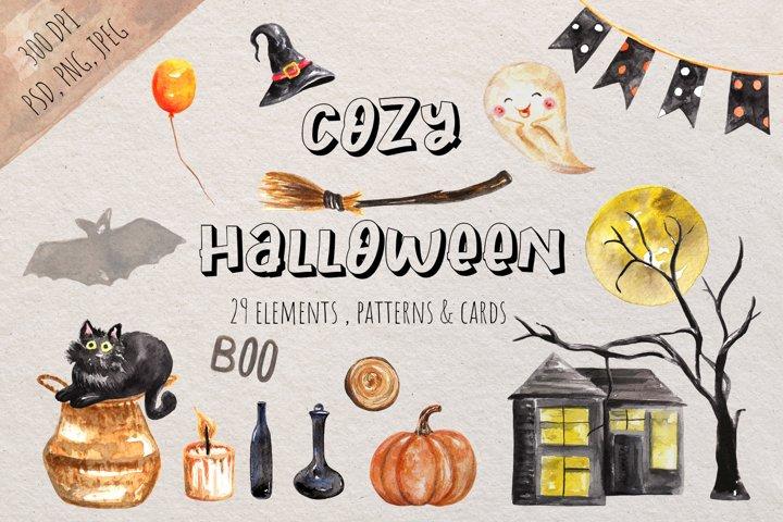 Watercolor Cozy Halloween Clipart