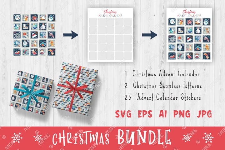 Christmas Set with Advent Calendar and Seamless patterns