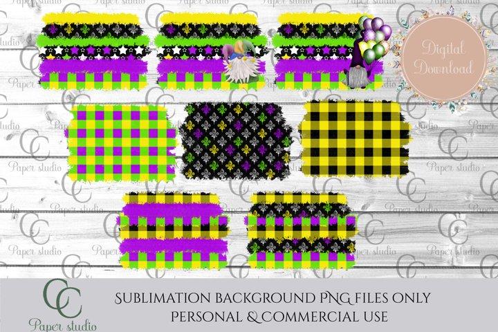 Sublimation background bundle -Mardi Gras gnome