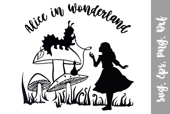 Alice in Wonderland SVG file. Alice Silhouette.