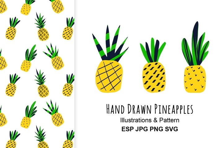 Pineapples illustration and pattern.