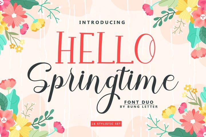 HELLO Springtime - Font Duo