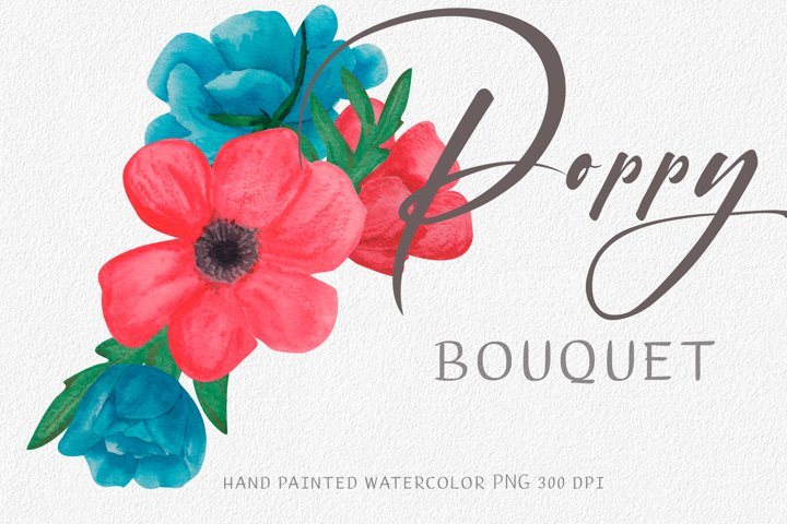 Poppy bouquet watercolor. Mexican blue and red clipart.