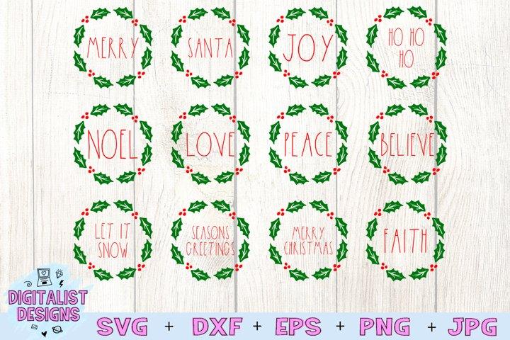 Holly Ornament SVG Bundle, Christmas SVG Bundle