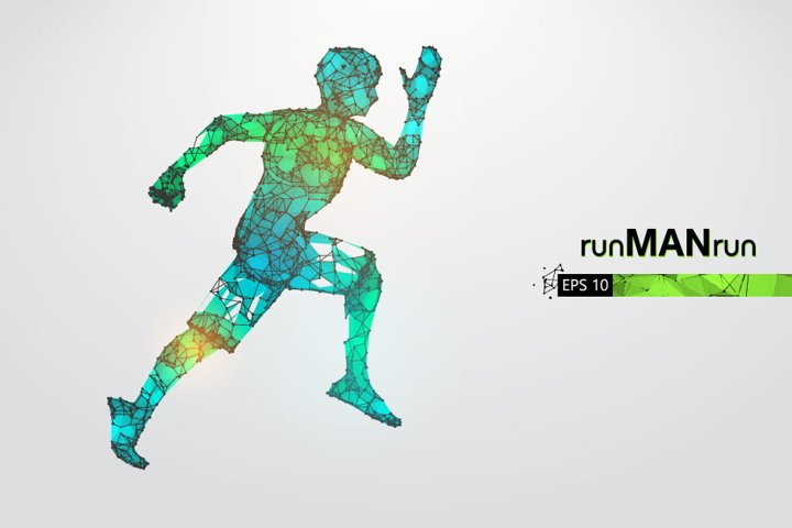 Silhouettes of a running athlete, man, AI, EPS, PNG