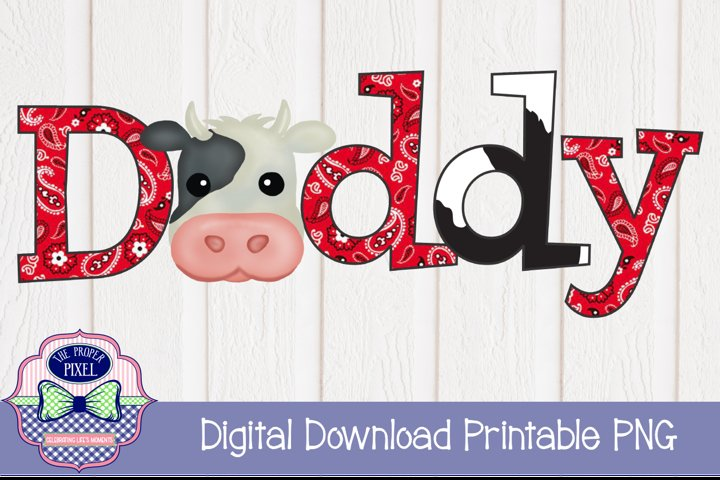 Watercolor Daddy Cow Birthday Two, Black Cow