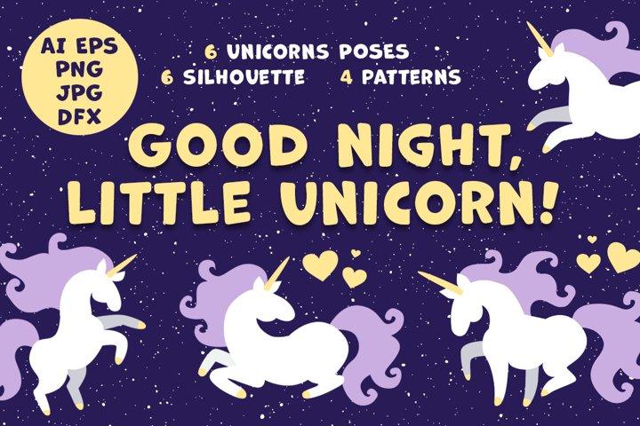 Good night little unicorn vector collection