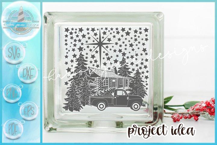 SVG Cabin Truck and Trees Christmas Scene Glass Block Design