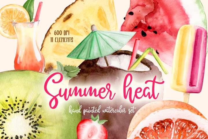 Summer Heat Watercolor Set Clipart Hand Painted