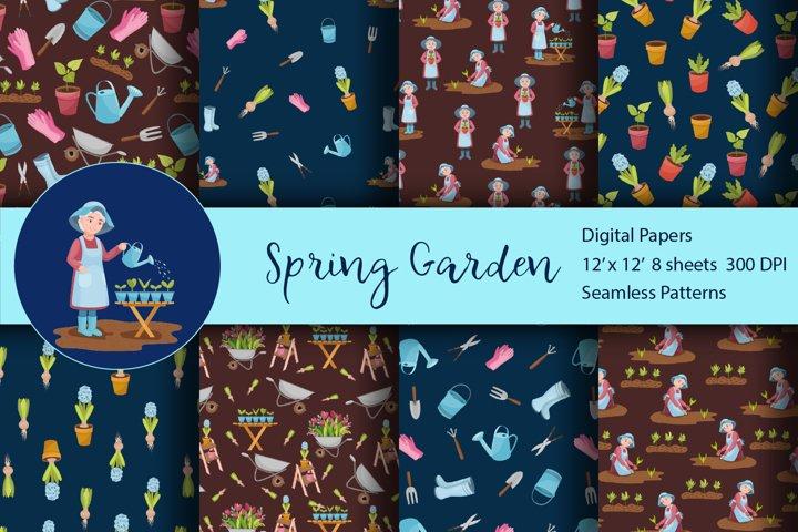 Seamless Pattern Set Spring Garden