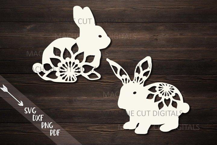Floral Easter Bunnies set paper cut laser cut svg dxf files