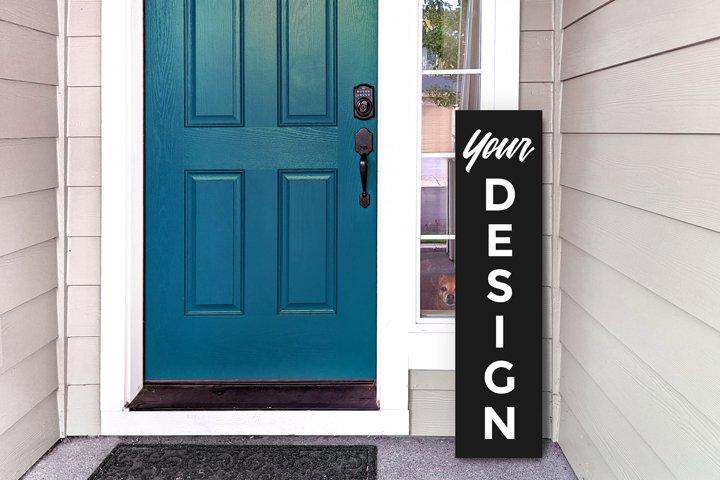 Vertical Porch Sign Mock Up on Editable Plain Color Board
