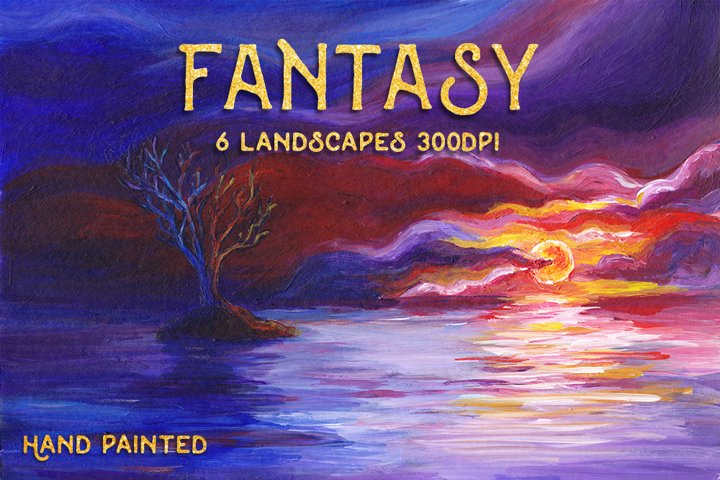 6 Fantasy Landscape Art Bundle - Hand Painted Illustrations