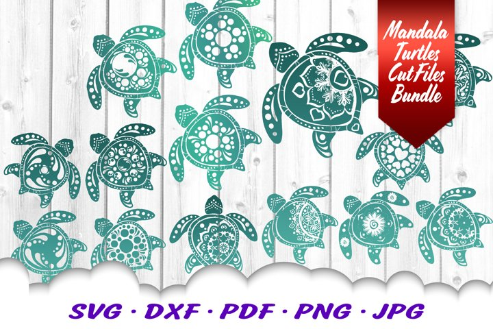 BIG Mandala Sea Turtle SVG DXF Cut Files Bundle