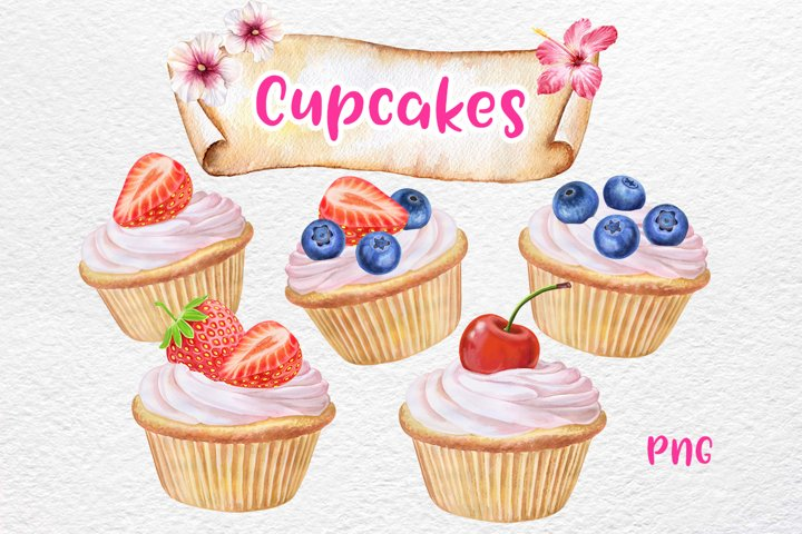 Watercolor Cupcakes with Fruits, Clipart. Kitchen Art