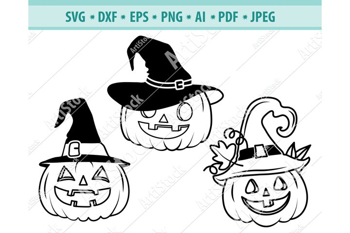 Pumpkin Witch Hat Svg Pumpkin Svg Halloween Dxf Png Eps 733484 Cut Files Design Bundles