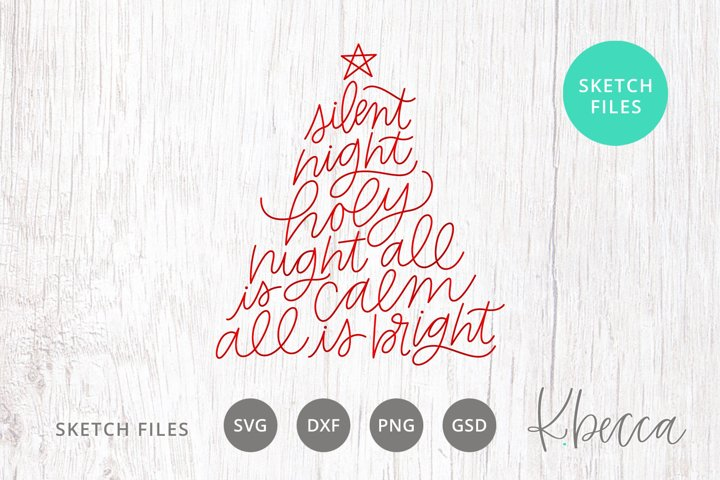 Foil Quill Sketch Silent Night Lyrics Christmas Tree SVG