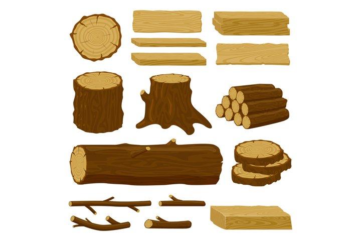 Wood trunks. Tree lumber, wood logs, logging twigs