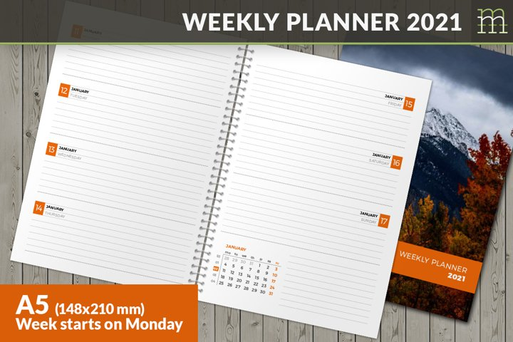 Weekly Planner 2021 Week starts on Monday - A5
