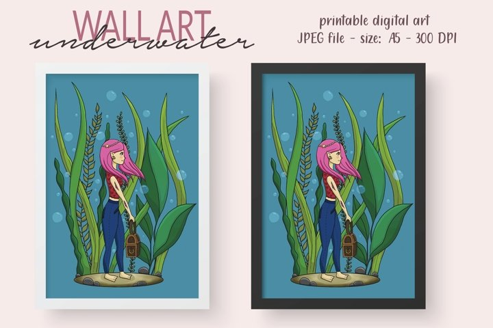 Girl Underwater Wall Decor - Printable Wall Art - Kids Room