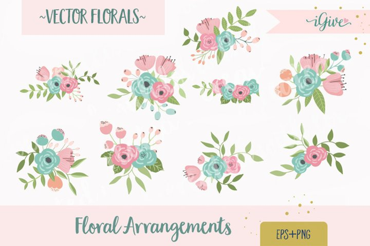 Wedding Florals - Mint, Pink and Blush - Vector Florals