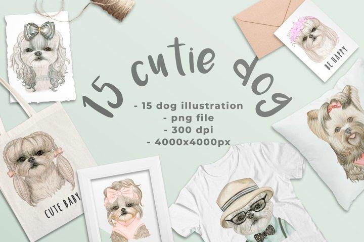 Cute Dog Watercolor Illustration Graphic