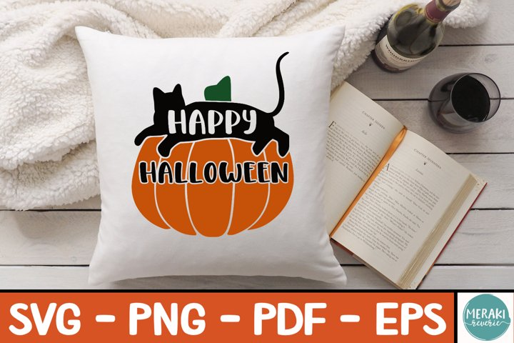 Pumpkin Cat Happy Halloween SVG Layered Cut File
